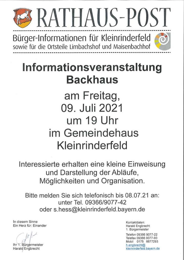 Informationsveranstaltung Backhaus